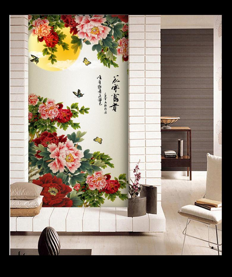 花开富贵图花好月圆国画牡丹花玄关背景墙