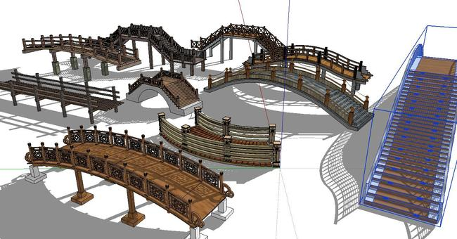 su精致中式传统景观木桥草图大师模型