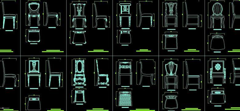 cad图库 家具设计图纸 椅子图纸 > 欧式靠背椅cad三视图图纸