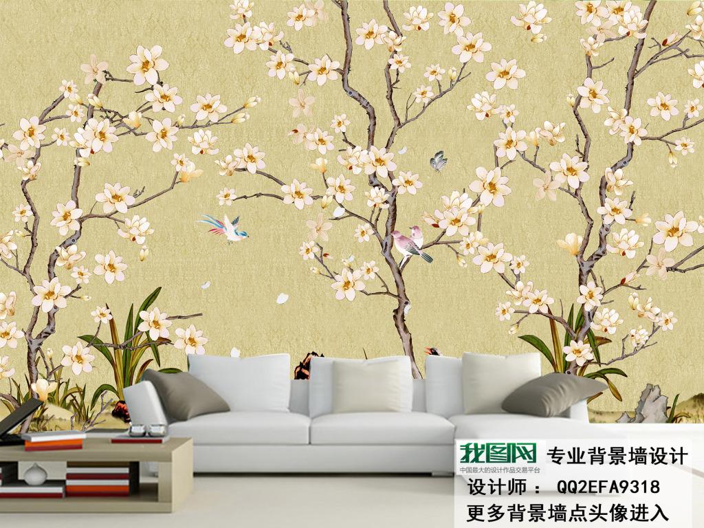 手绘花鸟图电视背景墙