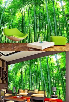 竹林3D风景背景墙壁画图片