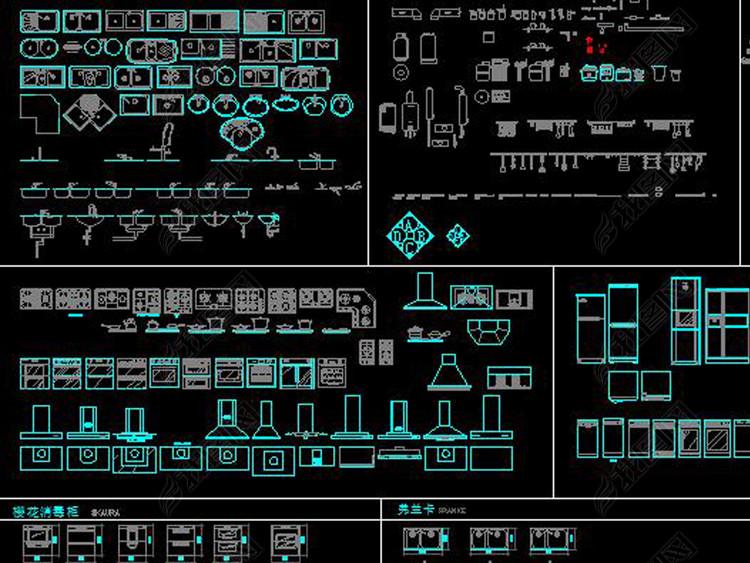 CAD厨房电器用品图库橱柜五金洁具家居