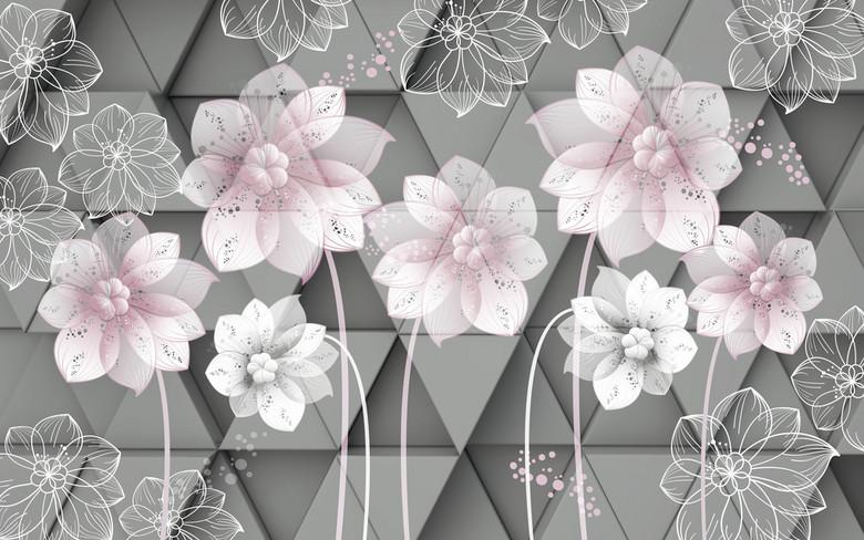 3D手绘线描花朵背景墙图片