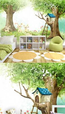 可爱卡通儿童房装修背景墙