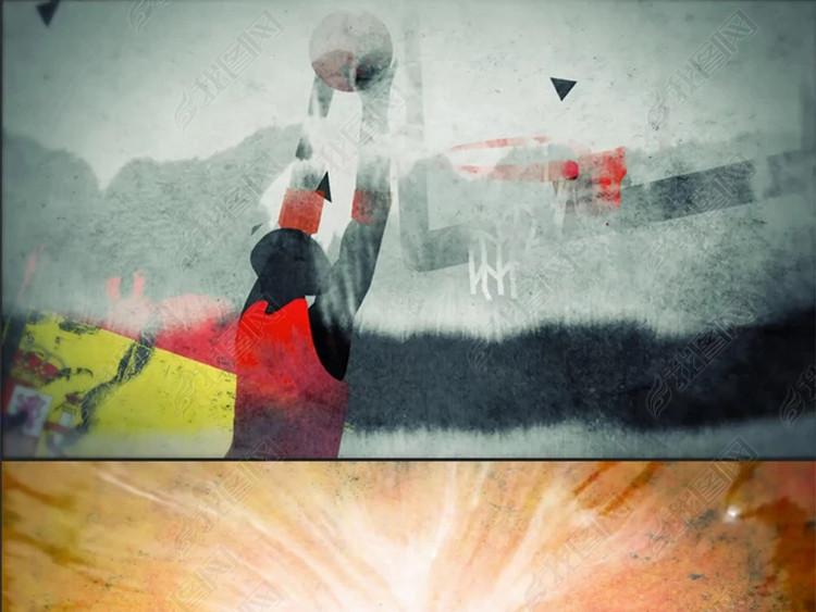 水墨中国风篮球比赛宣传片头预告ae模板