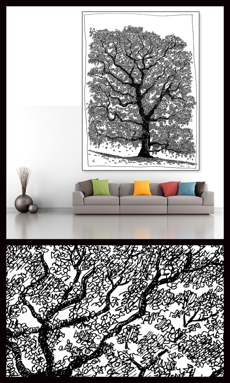 大树素描玄关背景墙装饰画图片