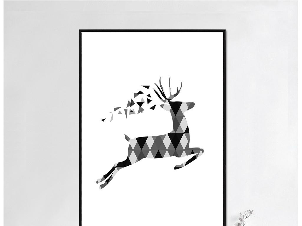 黑白无框画简约无框画新中式鹿手绘插画