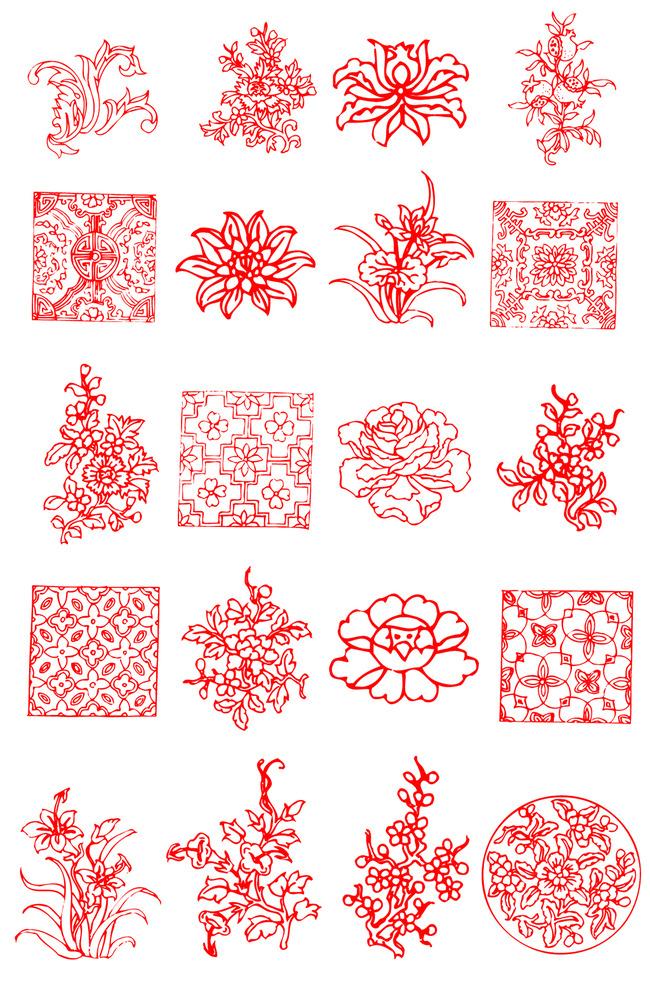 中国古典矢量花纹图案