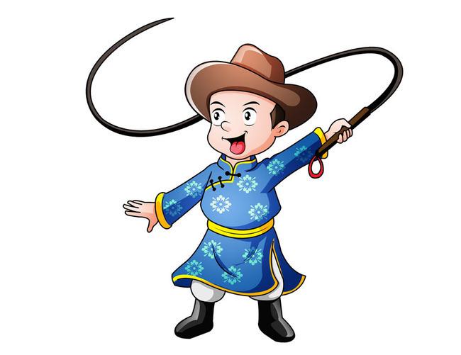 免抠元素 人物形象 动漫人物 > 蒙古族少年卡通形象设计  版权图片