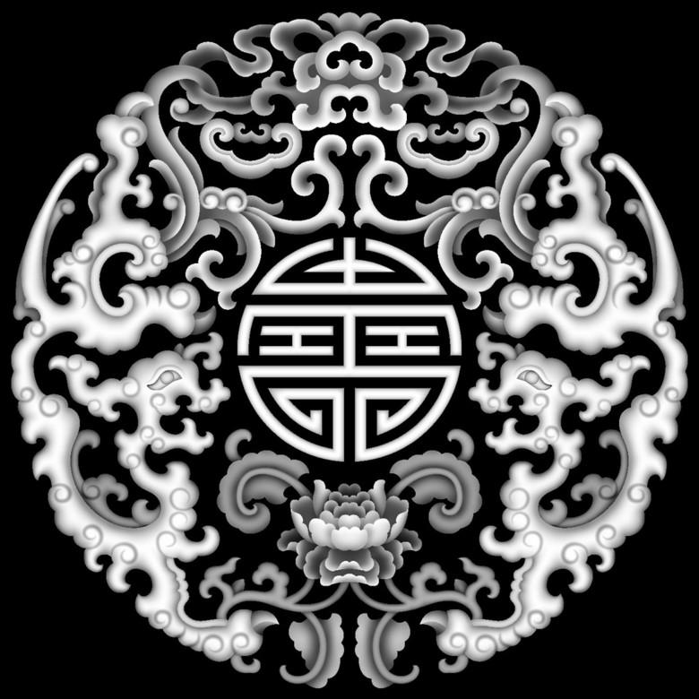 浮雕灰度图圆草龙 14370917 雕刻图案