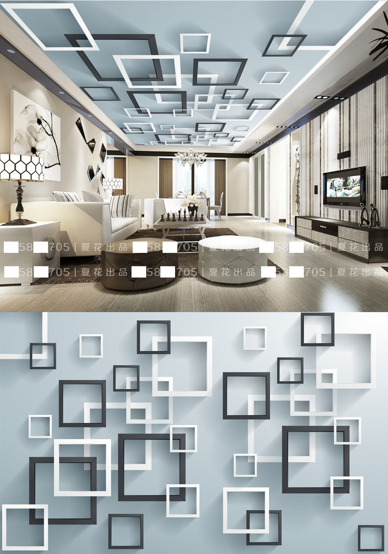 3D立体正方形方框现代吊顶效果