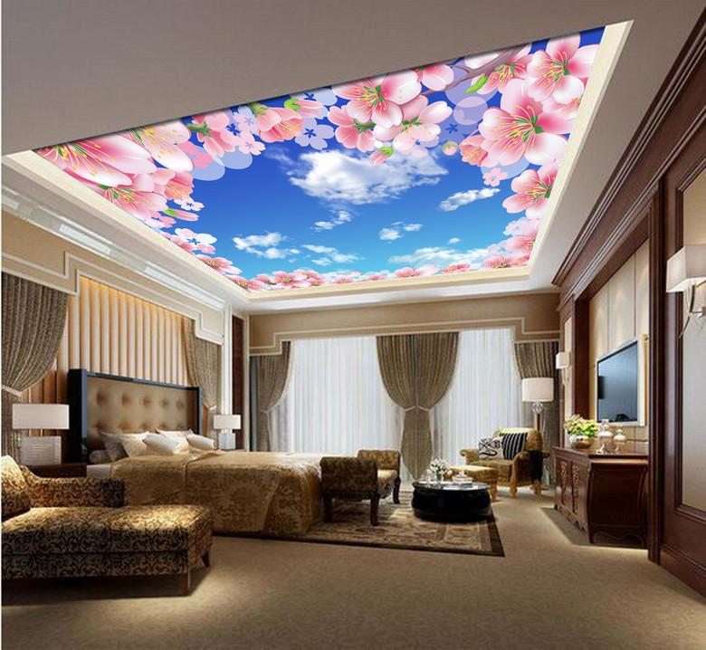 桃花蓝天白云吊顶设计