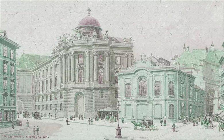 手绘素描城市街景欧式建筑背景墙图片