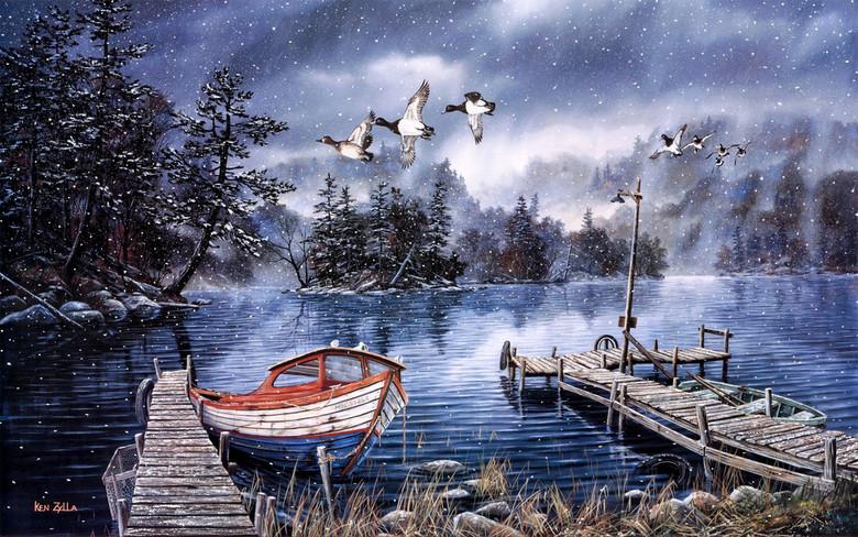唯美手绘冬季蓝雪湖大雁栈桥和小船