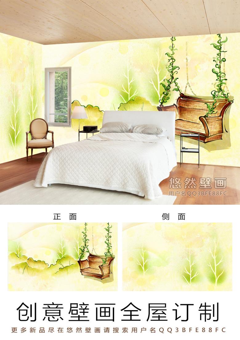 田园风摇篮椅手绘酒店宾馆全屋主题背景墙效果图 14480074 酒店 餐饮