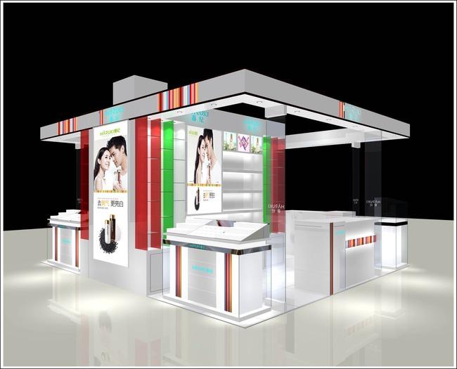 化妆品别墅3D展示模型新款罗马柱展厅设计图图片