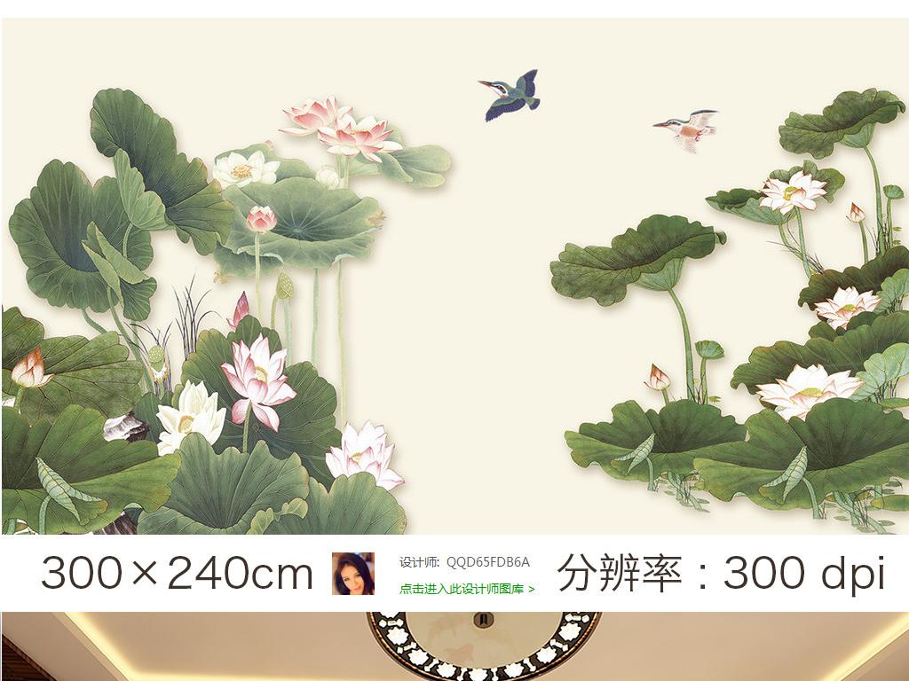 作品模板源文件可以编辑替换,设计作品简介: 中式工笔荷花电视背景墙图片