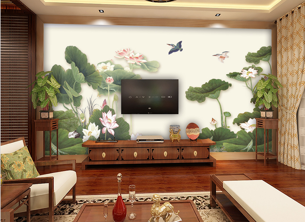 荷花简笔画中式风格中式手绘国画水墨画荷花荷叶红荷花电视背景墙图片