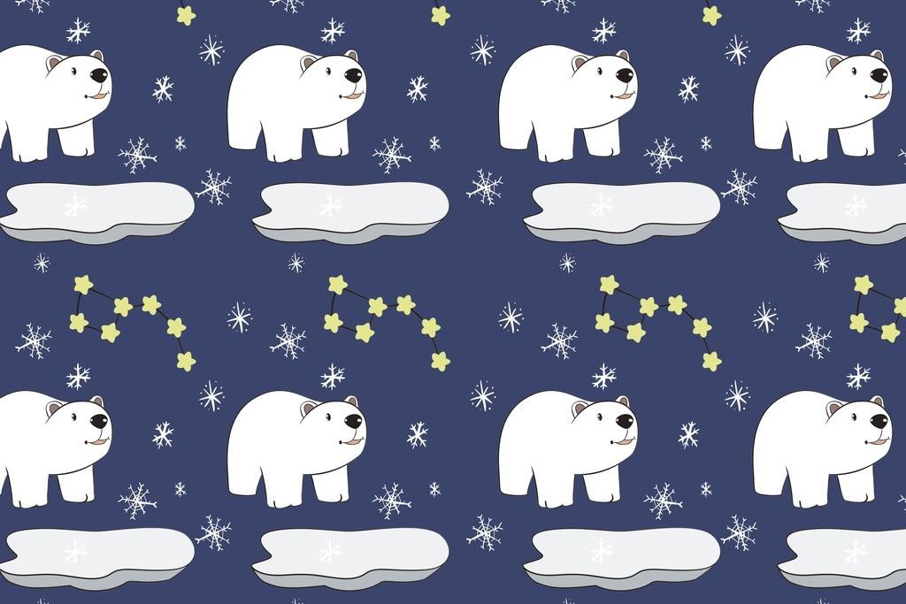 北极熊卡通动物面料印花图案