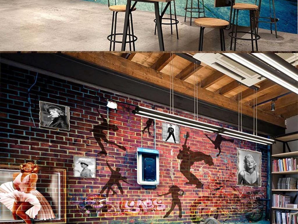 欧式怀旧咖啡厅ktv吧台电视背景墙