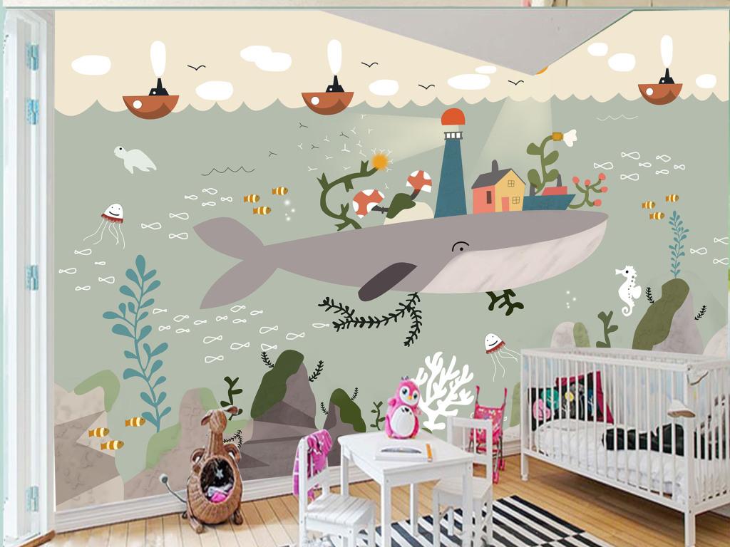 手绘海底世界鲸鱼伙伴艺术背景墙