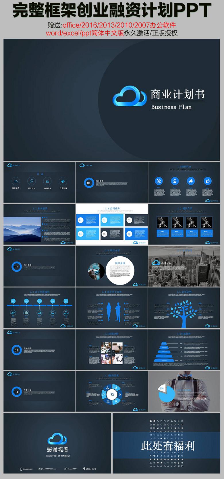 商业创业计划科技ppt完整创业框架ppt