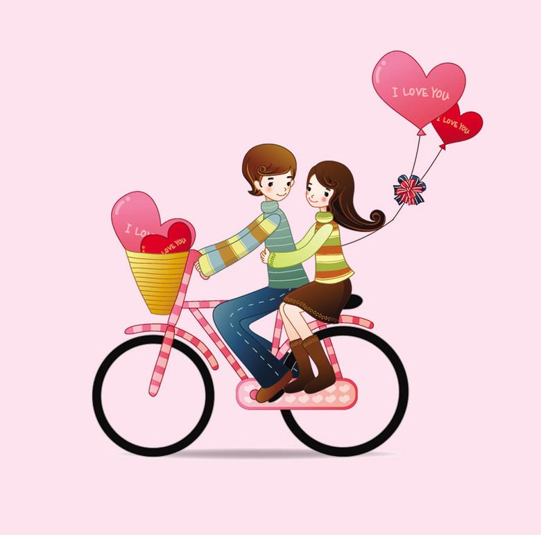 卡通情侣骑单车浪漫元素图片素材 模板下载 2.50MB 元旦丨春节丨元宵图片