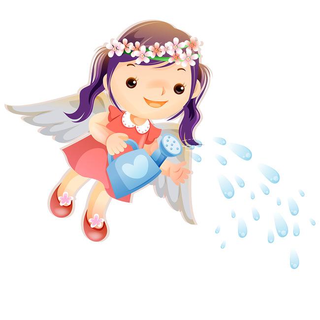 卡通可爱天使小女孩浇水图片