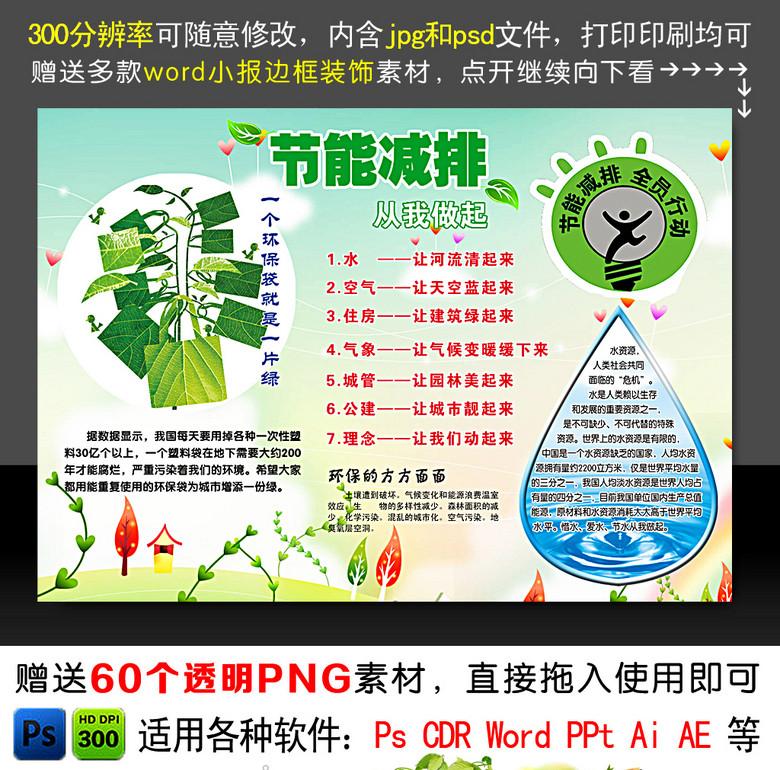 约用水节能减排环保电子小抄报图片