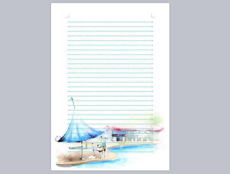 A4信纸模板下载 wps格式素材 图片0.44MB 信纸大全 办公常用