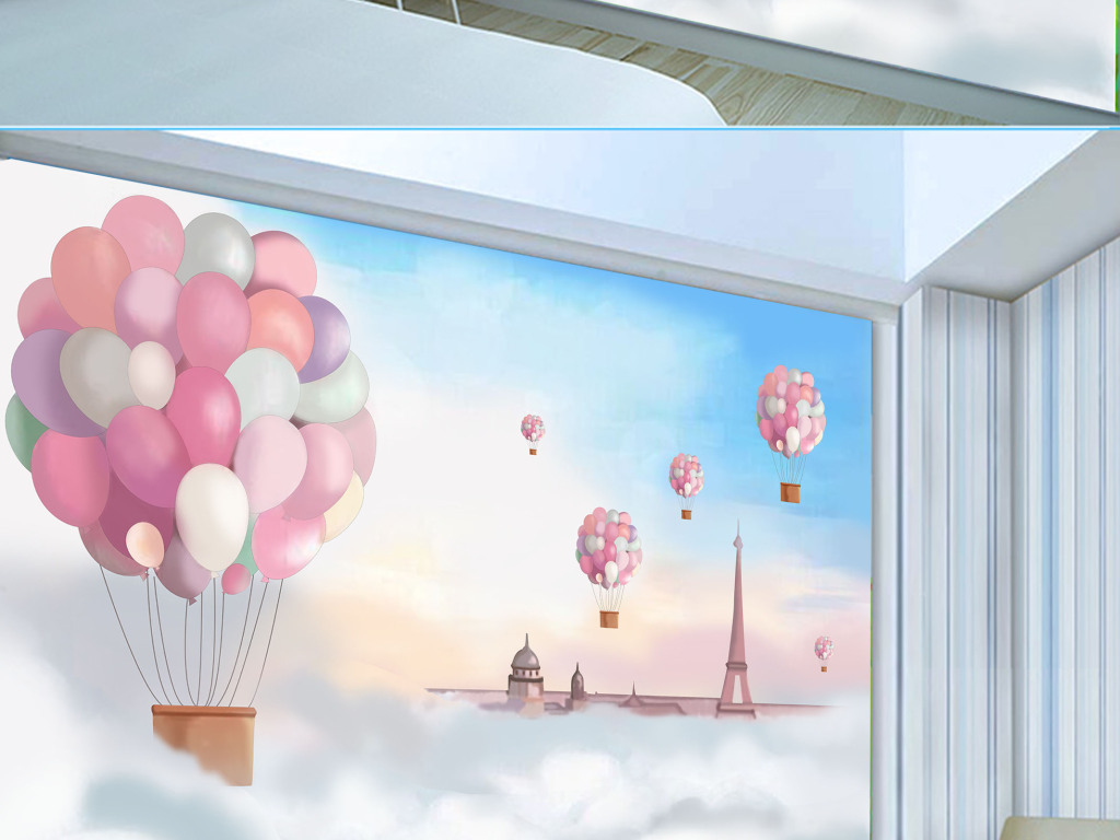 卡通手绘地中海客厅儿童房背景墙壁纸