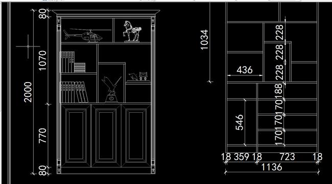 cad图库 全屋定制cad图纸 柜子图纸 > 欧式隔断鞋柜电脑桌cad  素材图片