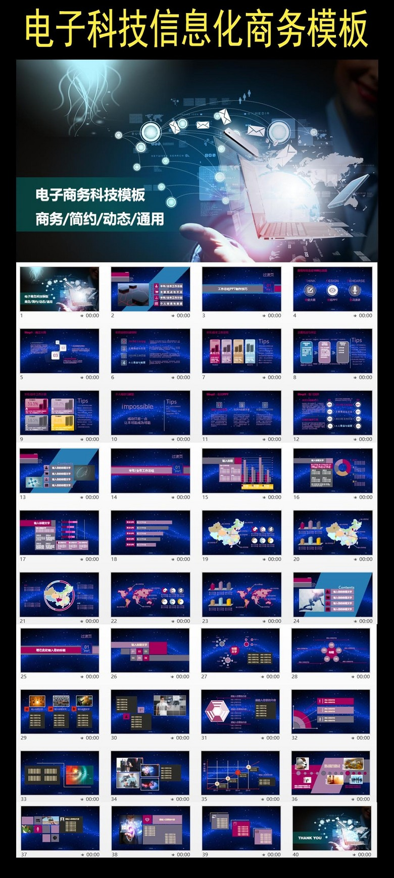科技商务信息化触摸屏PPT模板下载 10.11MB 商务PPT大全 商务通用