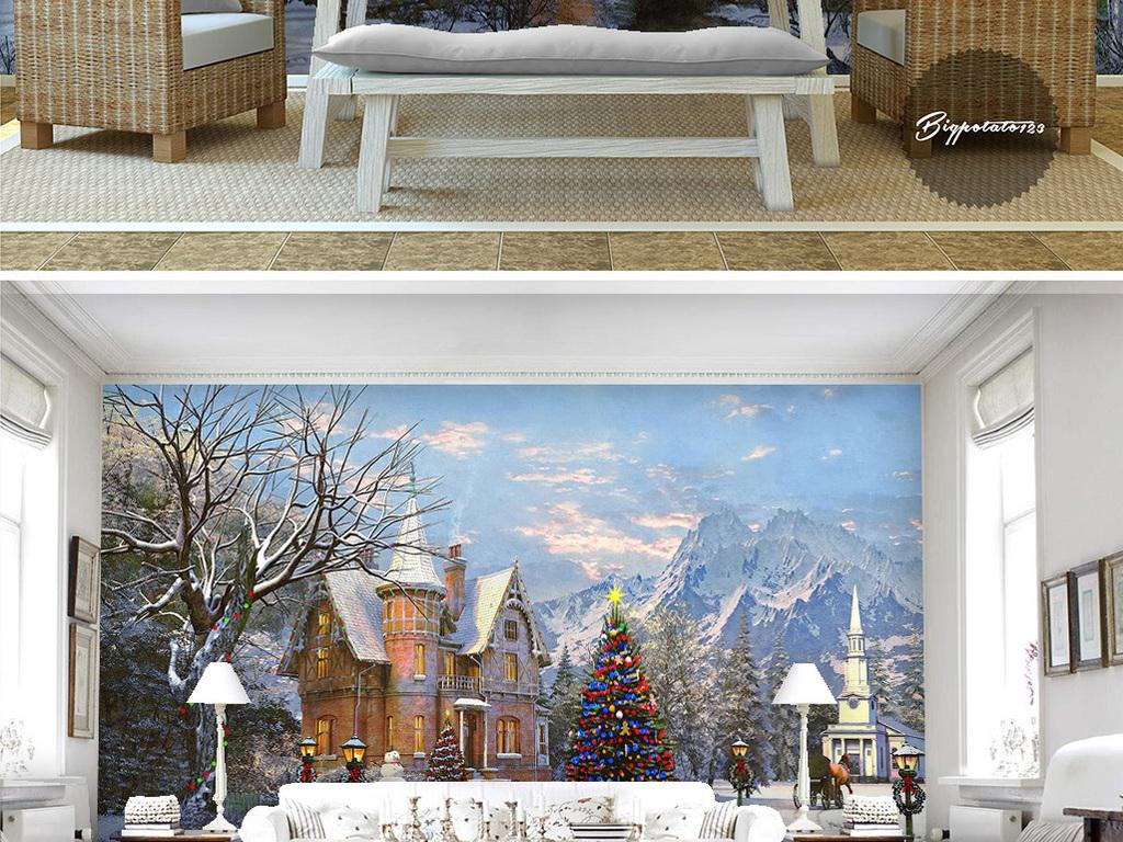 蓝天白云雪中城堡古堡松树林雪山风景油画
