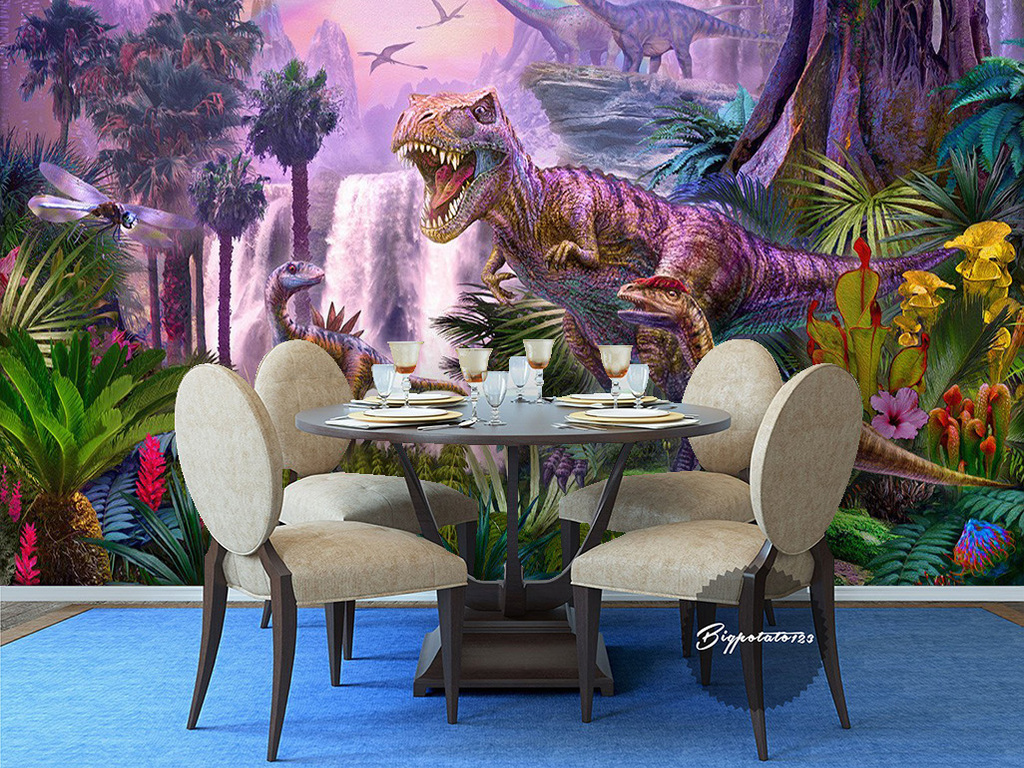 紫色天空原始森林侏罗纪恐龙动物儿童油画