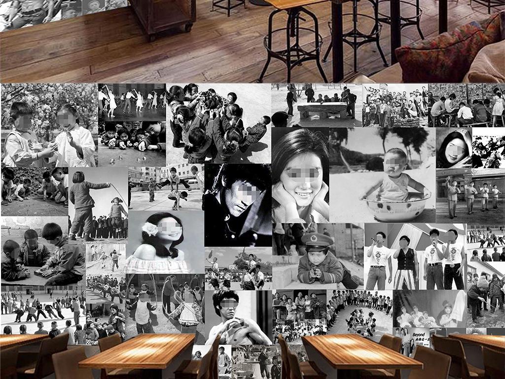 怀旧复古80年代明星海报主题餐厅效果图 14814327 明星背景墙效果图高清图片