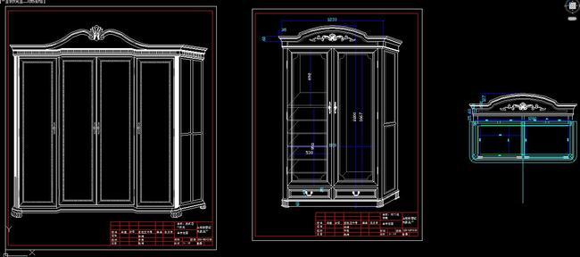 cad美式家具设计图纸欧式床三视图柜子