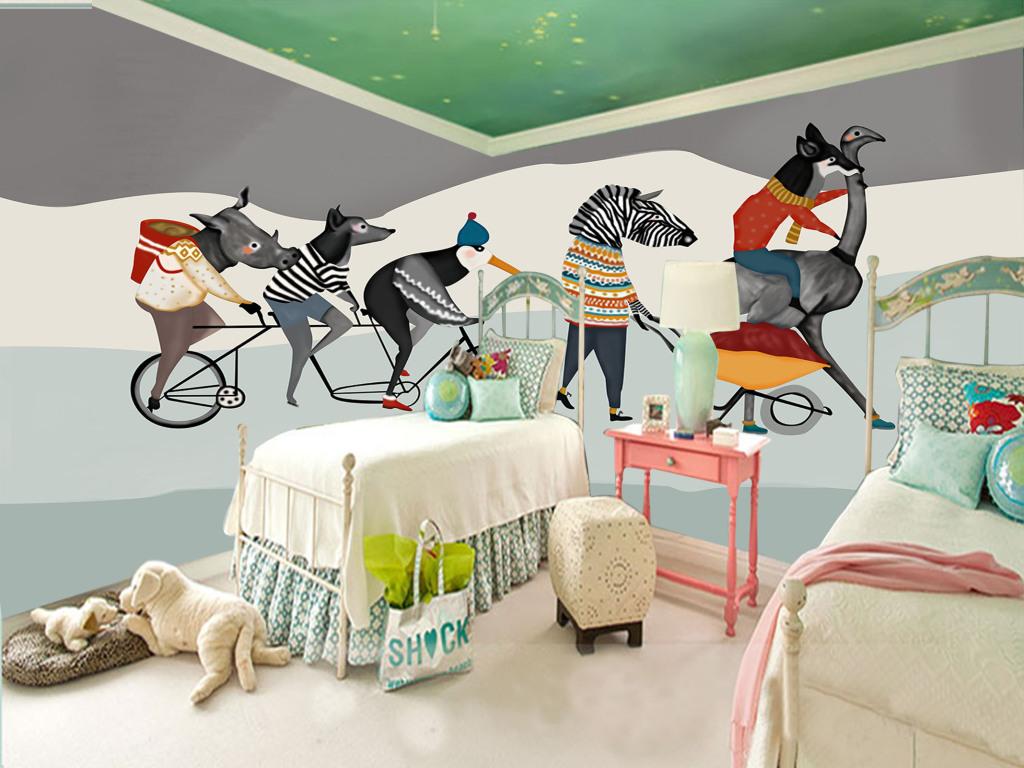 手绘艺术壁画动物群友背景墙