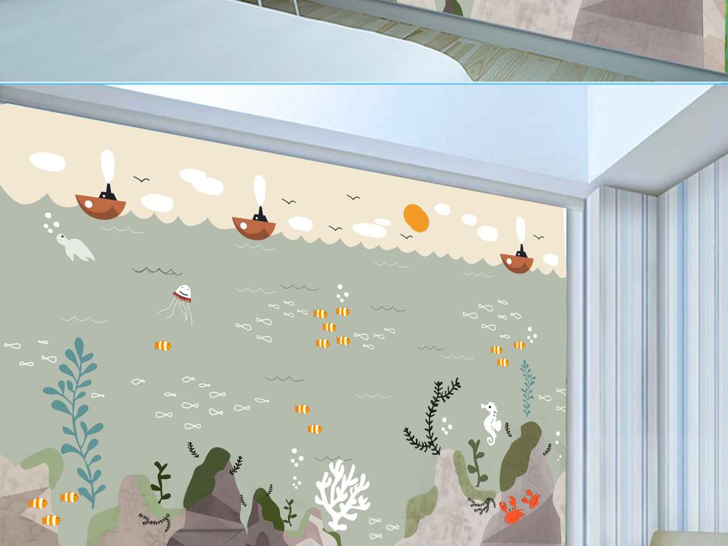 手绘海底世界鲸鱼伙伴艺术背景墙壁纸