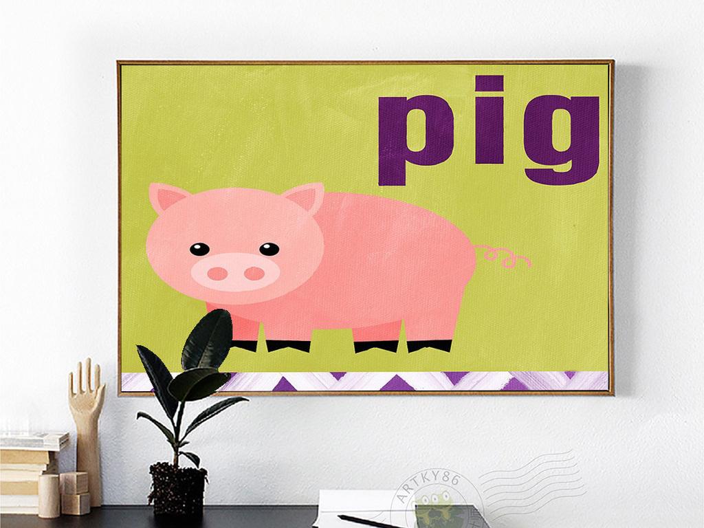 可爱卡通一只粉色小猪pig英文儿童房油画图片
