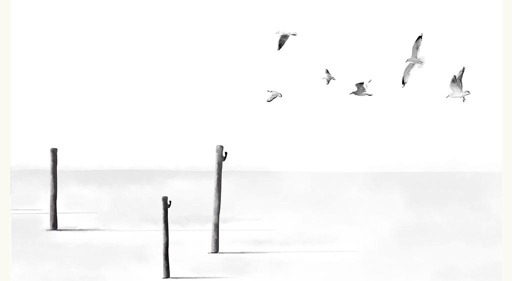 文艺意境写意手绘电视背景墙装饰画飞鸟木桩随意海鸥鸽子极简