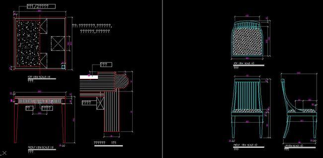 cad欧式家具设计梳妆台图纸三视图美式