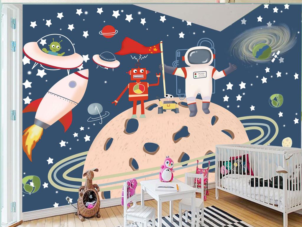 室内儿童卡通卧室背太空高清手绘壁纸客厅背景墙外太空背景外太空地球