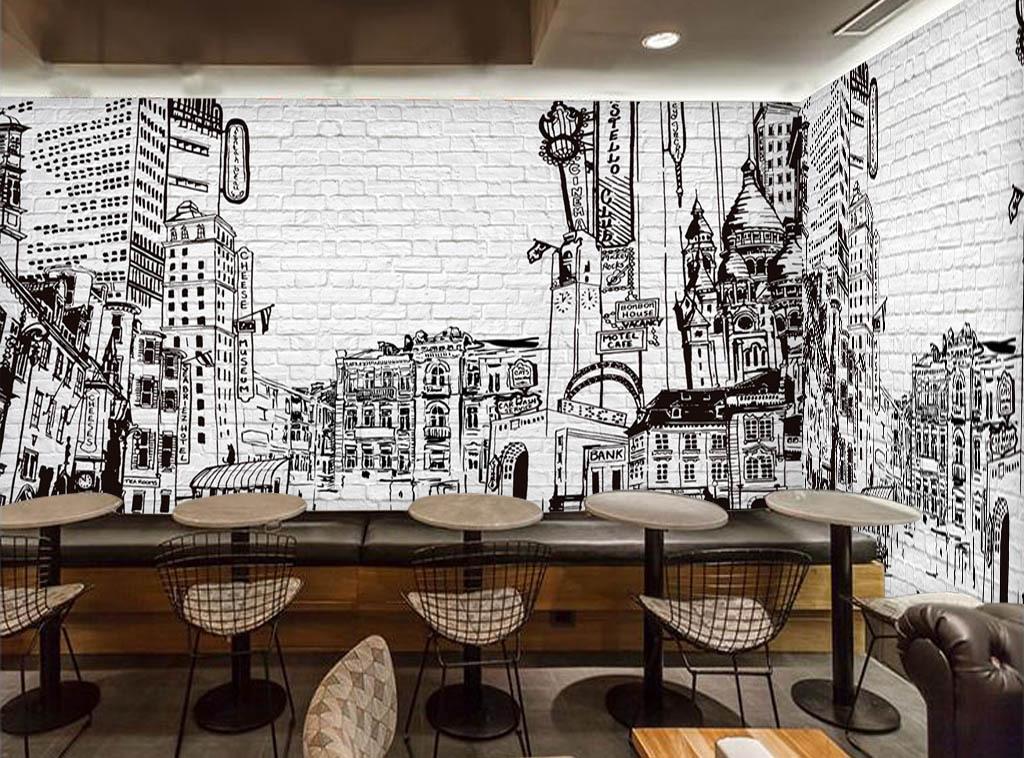 餐厅韩国美食手绘建筑剪影素描猫城市砖墙白砖电视背景墙图片玻璃电视