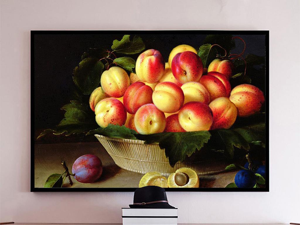 可口大李子桃子水果静物写实油画高清图片下载 图片编号14842996