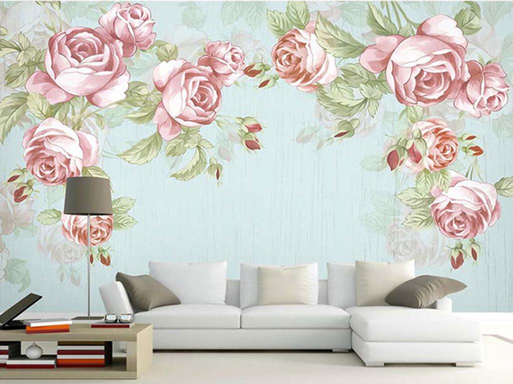 欧式手绘玫瑰花卉花藤复古背景墙壁画