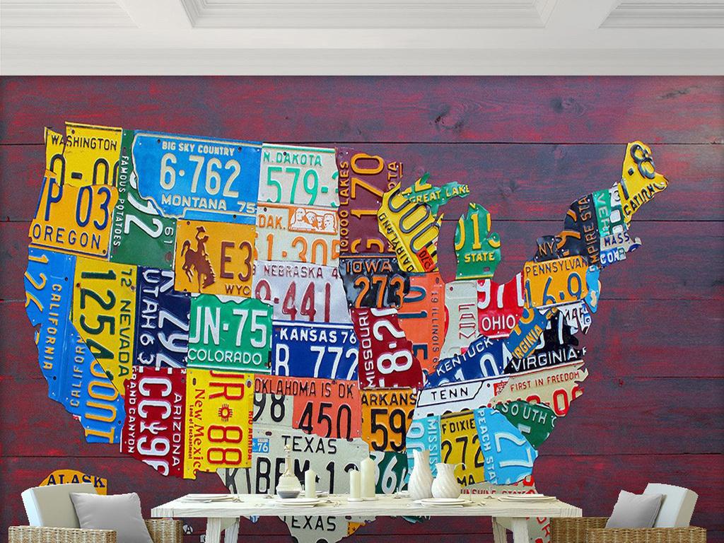 创意车牌拼接美国地图红色木板背景墙