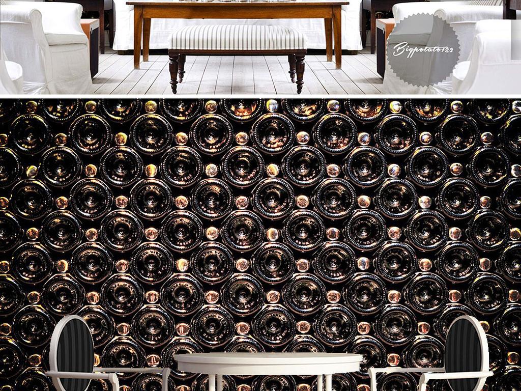 背景墙|装饰画 电视背景墙 电视背景墙 > 梦幻黑色啤酒瓶堆积动感圆圈图片