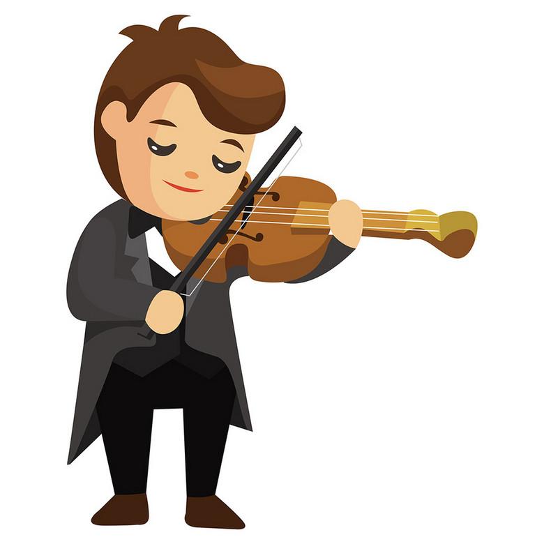 卡通乐队拉小提琴图片