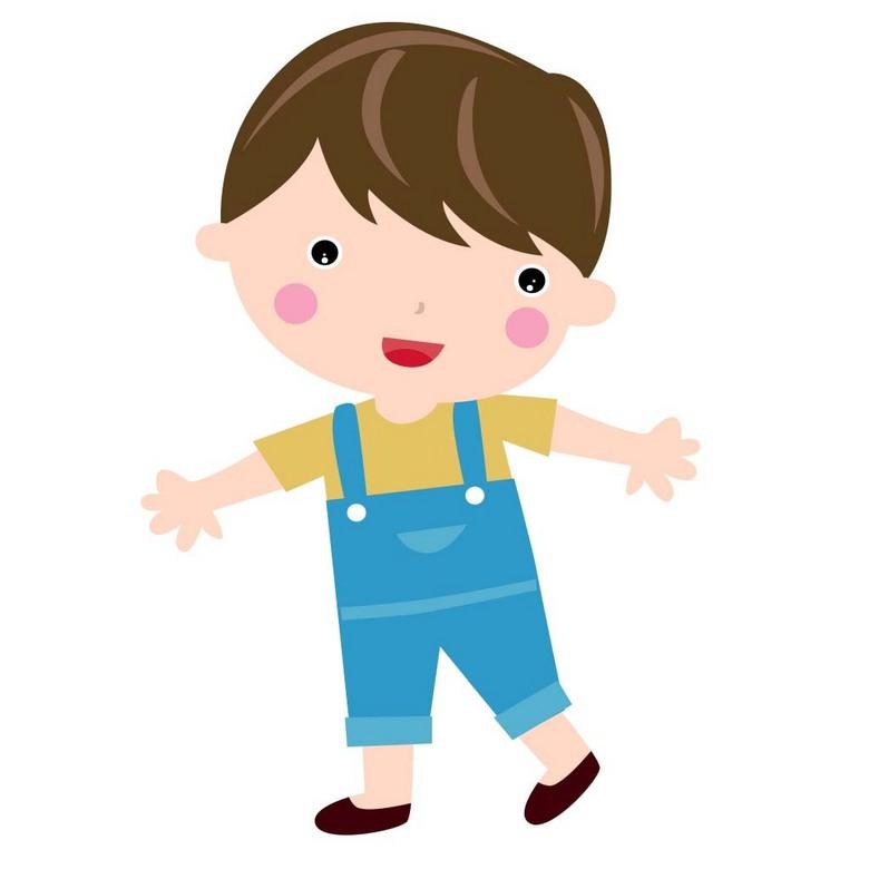 可爱卡通穿背带裤的小男孩